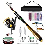 Milerong Fishing Rod and Reel Combo,Carbon Fiber Telescopic Fishing Pole with Stainless Steel Spinning Fishing Reel, Portable Travel Fishing Pole Combo for Youth Adults Beginner Saltwater Freshwater