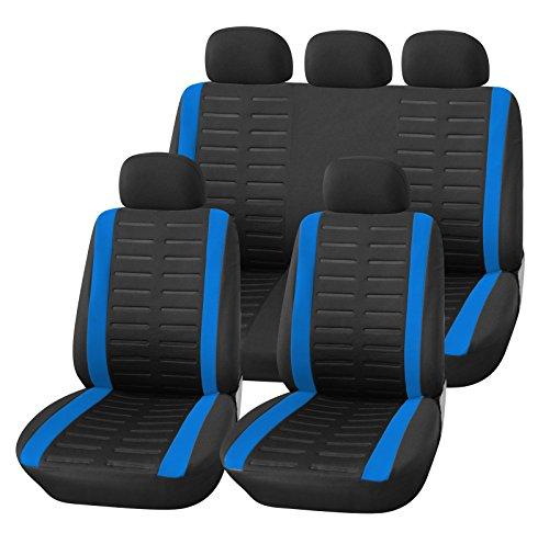 Upgrade4cars Auto-Sitzbezüge Set Universal Auto-Schonbezüge Schwarz Blau mit Seiten Airbag Öffnungen und Teilbarer Rückbank Auto-Zubehör Innenraum
