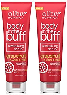 Grapefruit and Walnut Shell Body in the Buff Revitalizing Scrub (Pack of 2) With Walnut, Orange, Grapefruit, Hazelnut, Peppermint, Aloe Vera and Sweet Almond, 9 oz. each