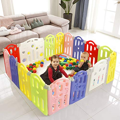Aneken Baby Playpen, 16 Panel Foldable Playpen for Babies, Nonslip Play Pen, Baby Play Yard with...