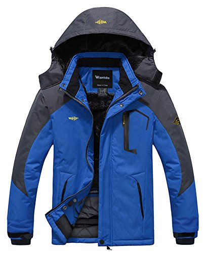 Wantdo Herren Mountain Wasserdicht Skijacke Winddicht Regenjacke Winter Warm Schneemantel - Blau - XXX-Large