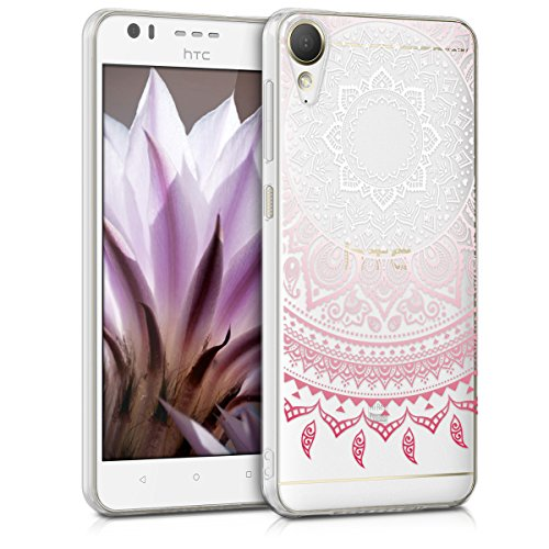 kwmobile HTC Desire 10 Lifestyle Hülle - Handyhülle für HTC Desire 10 Lifestyle - Handy Case in Indische Sonne Design Rosa Weiß Transparent