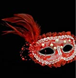 Maquillaje Bola Vestido máscara Perla máscara de Pluma Media Cara máscara de Ojos máscara de Ojos Código Promedio Rojo