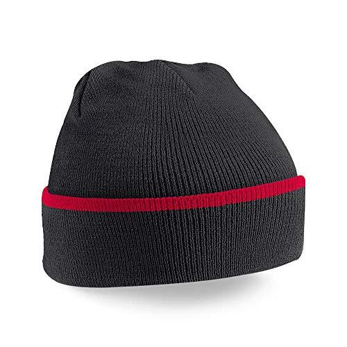 Beechfield B471 Teamwear Bonnet Mixte, Noir/Rouge, Taille Unique