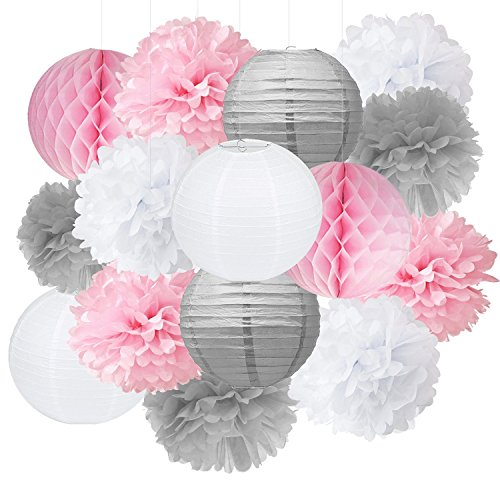 Pompoms Deko Furuix 15pcs rosafarbenes graues weißes Partei-Dekoration-Installationssatz-Gewebe-Papier Pom Pom-Bienenwabe-Ball für Brautduschen-Mädchen-Geburtstags-Hochzeits-Dekoration-Rosa-Babyparty
