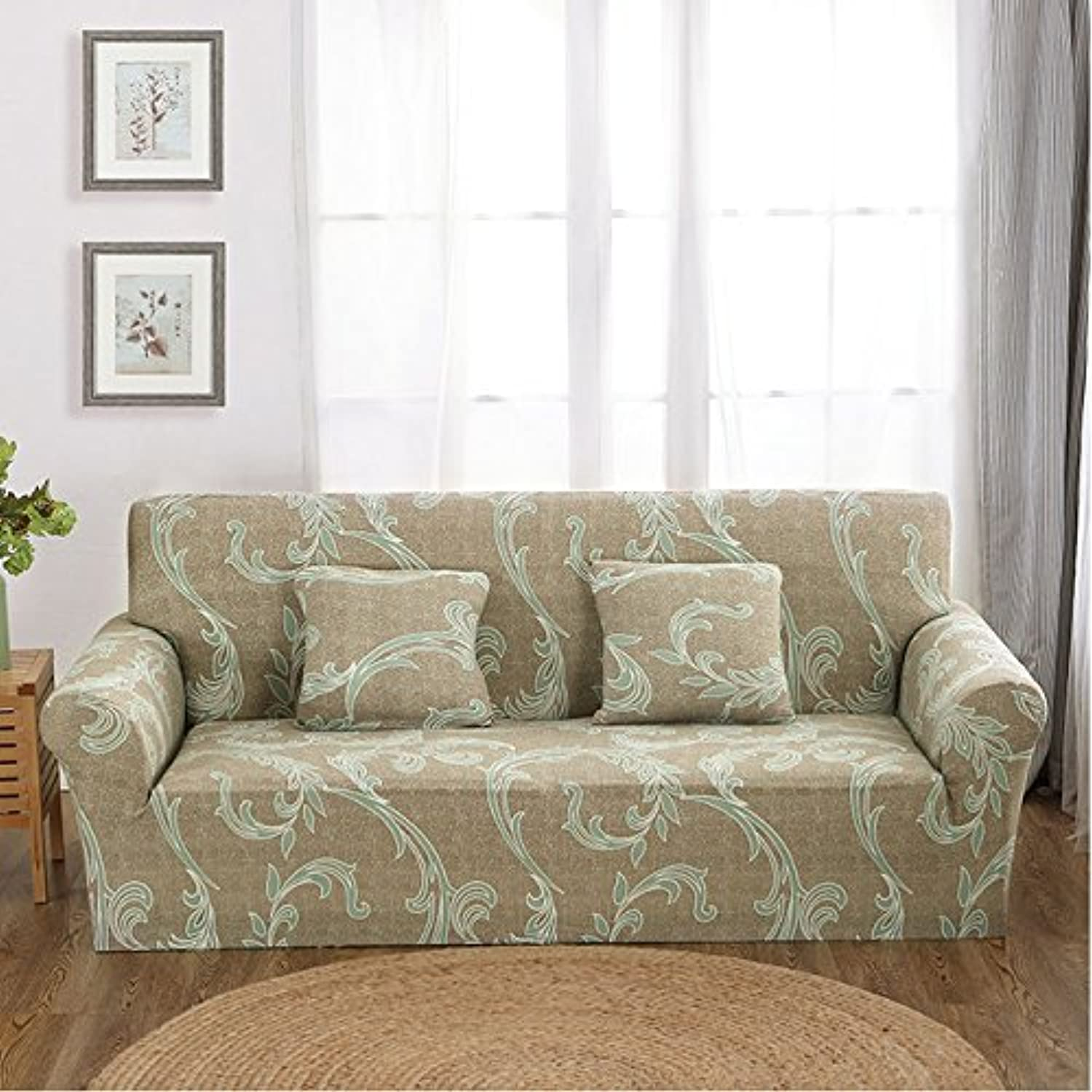 Farmerly 1pcs Flower Leaf Pattern Soft Stretch Sofa Cover Home Decor Spandex Furniture Covers Decoration Covering Hotel Slipcover 013   G, Two seat