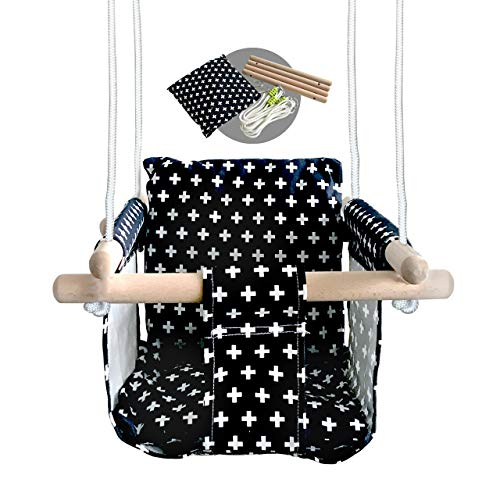 Buy Baby Modern Hammock Swing | Swing for Babies with Warm Colors Canvas Design | Wood Frame and Pol...
