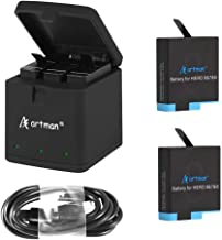 Artman Hero 8/7/6 1500mAh Replacement Batteries(2-Pack) and 3-Channel LED USB Storage Charger Compatible with GoPro Hero 8 Black,Hero 7 Black,Hero 6 Black(Fully Compatible with Original)