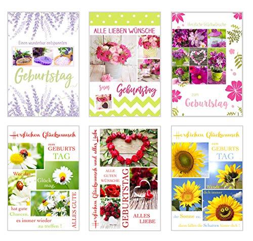 Set 6 exklusive Geburtstagskarten mit Umschlag. Glückwunschkarte Grusskarte zum Geburtstag. Geburtstagskarte Karte Mann Frau (Doppelkarten/Klappkarten mit Briefumschlag)