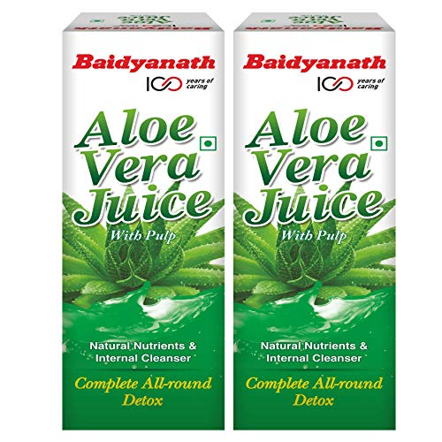 Baidyanath 99.6% Pure Aloe Vera Juice (with Pulp)- No Added Sugar   Source of Natural Nutrients, Boosts Immunity & Digestion, Rejuvenates Skin and Hair   For Complete All-Around Detox   1 L(Pack of 2)
