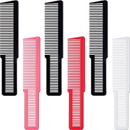6 Pieces Hair Cutting Combs Professional Styling Comb Clipper Comb Barber Styling Hair Combs for Barbers Clipper-cuts and Flattops Black, White, Red, Pink, 8 Inches