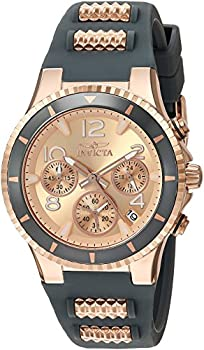 Invicta Women s BLU 39mm Rose Gold Tone Stainless Steel and Silicone Chronograph Quartz Watch Rose Gold/Black  Model  24189