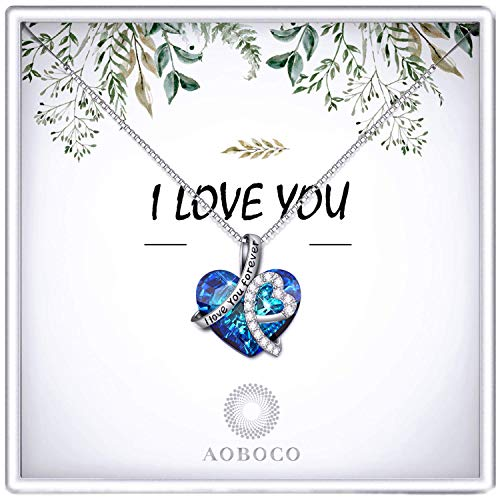 Anniversary Jewelry Gifts for Her, Sterling Silver Heart-shaped Necklace for Women, Christmas Birthday Gifts Box to Wife Mom Daughter(Gift Box- Leaf)