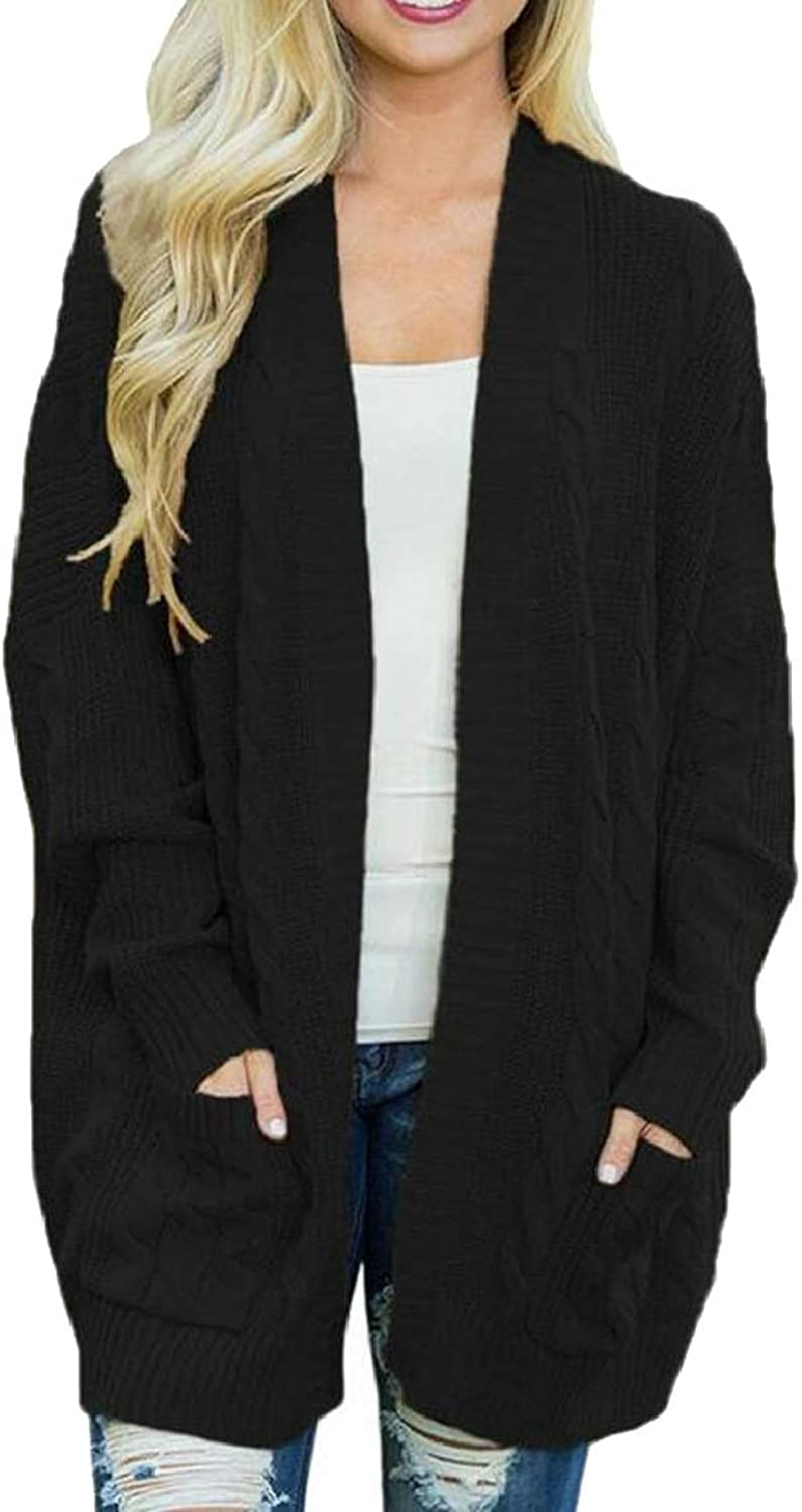 LKCENCA Women's Tops Long Sleeve Mid Long Knit Solid color Cardigan Sweaters
