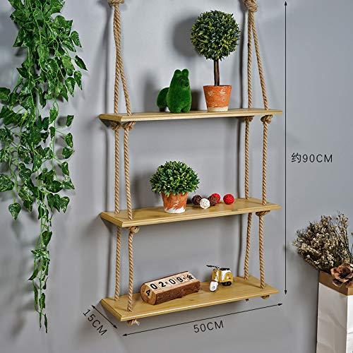 Badkamer Muur Hangen Combinatie Rekken, Free-Piercing Touw Stevige Houten Plank, Wandbehang Kamer Decoratieve Plank