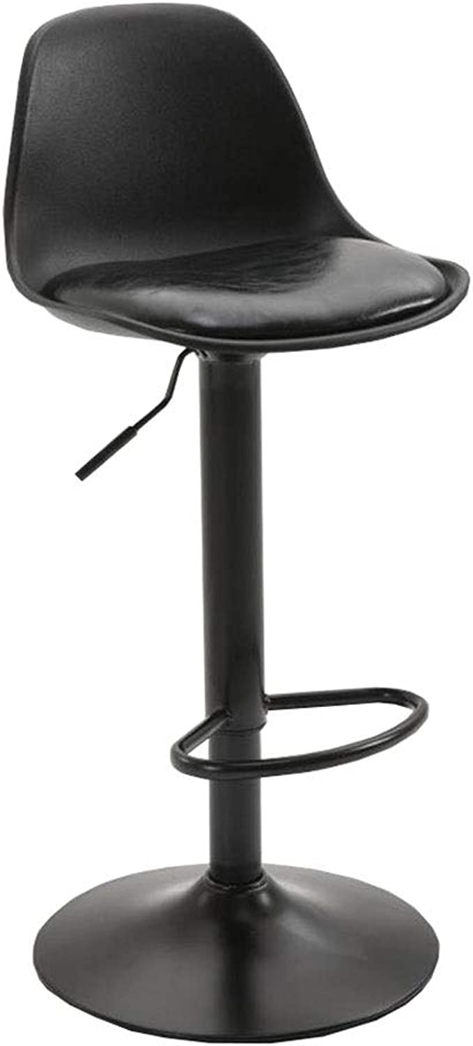 Dall Bar Stools PU Seat High Chair 360° redation Adjustable Gas Lift Metal Base Kitchen Dining Stools Footrest (color   Black)