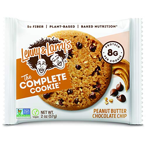 Lenny amp Larry#039s The Complete Cookie Peanut Butter Chocolate Chip 2 Ounce Cookies  12 Count Soft Baked Vegan and Non GMO Protein Cookies