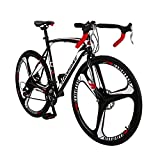 Road Bike LZ-550 Steel Bicycle disc Brake 21 Speed Road Bike Black/White54K