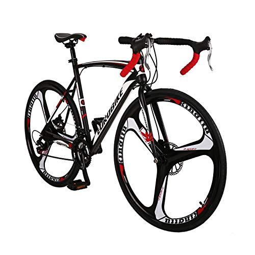 Road Bike LZ-550 Steel Bicycle disc Brake 21 Speed Road Bike Black/White54K