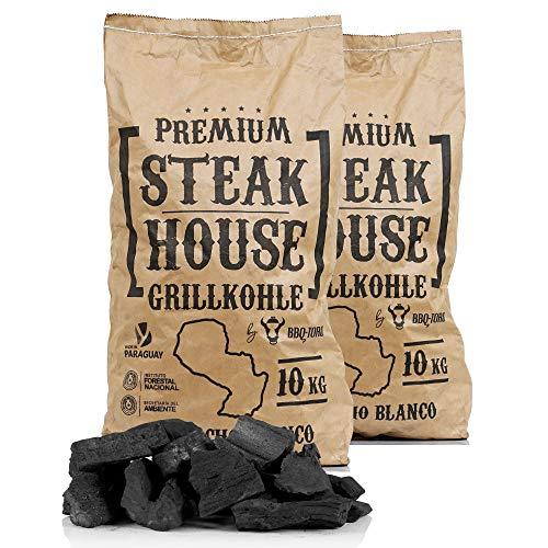 BBQ-Toro Premium Steak House Grillkohle | 20 kg | Querbracho Blanco Kohle | Holzkohle in Restaurant Qualität | Steakhousekohle
