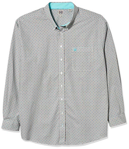 Cinch Men's Big and Tall Classic Fit Long Sleeve Button One Open Pocket Shirt, Angel Blue Geo, 3XL