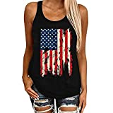 JIER Liquidación Moda Mujer Patriótico American Flag Print Camiseta sin Mangas Casual Tank Top (Negro,M)