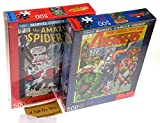 Marvel Avengers Comic Book Cover & Spider-Man Comic Cover Jigsaw Puzzle Bundle 500 Piece