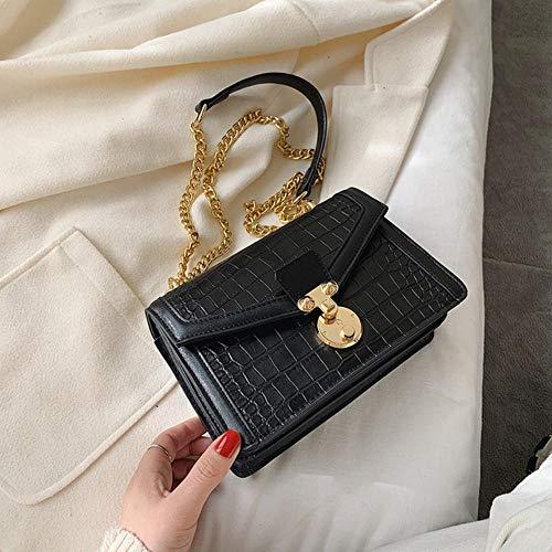 LOH Pierre Motif en Cuir Bandoulière Sacs Femmes Chaîne Épaule Messenger Sac Femelle Serrure Sacs À Main, Noir, 21 cm x 15 cm x 9 cm