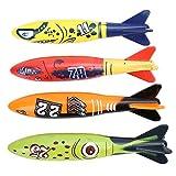 Alomejor 4 Stücke Tauchen Ausbildung Spielzeug Unterwasser Torpedo Rakete Werfen Schwimmen Spiel...