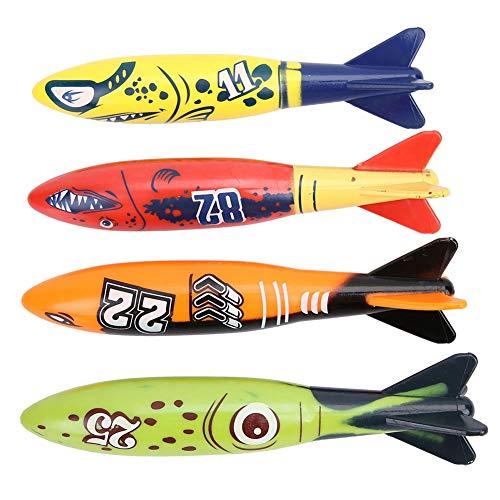 Alomejor 4 Stücke Tauchen Ausbildung Spielzeug Unterwasser Torpedo Rakete Werfen Schwimmen Spiel Kinder Sommer Spielzeug