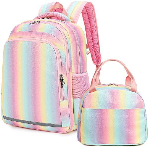 Girls Backpack Rainbow Glitter School Backpacks Kids Preschool Bookbag with Insulation Lunch Bag