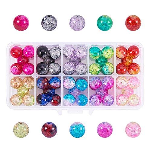 PandaHall Elite 90 Stück Runde Spray Painted Crackle Glasperlen Lampwork Glas Runde Perlen für Schmuckherstellung, 10 Farben, 12 mm, Bohrung: 1.3 mm