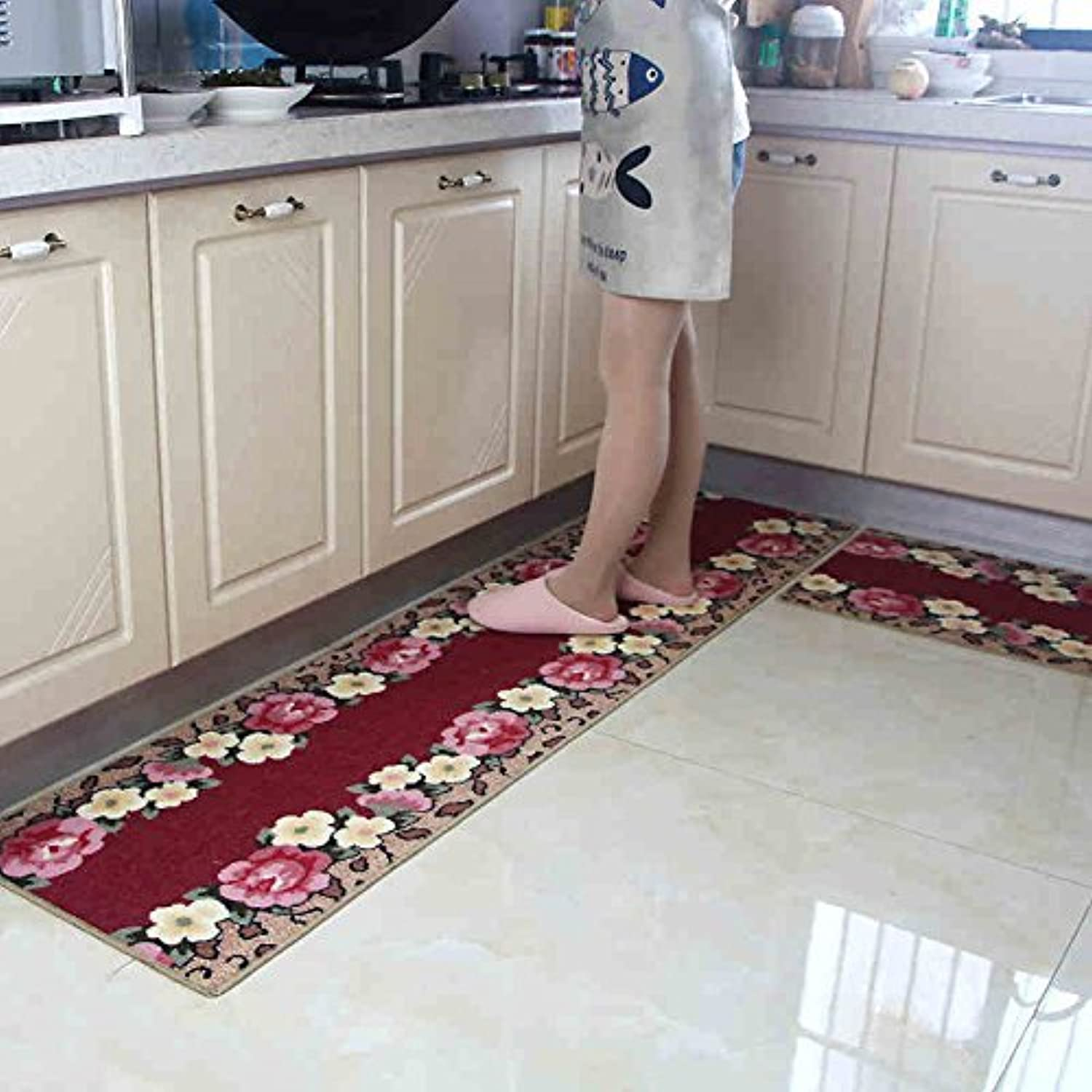 Kitchen Floor Mats Long Absorbent Absorbent Mat The Entrance Door Mat The Door The Door Hall Bedroom Bathroom Cushion Foot Pad Soft and Comfortable (color    1)