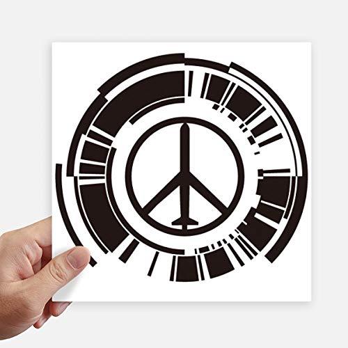 DIYthinker Vrede Symbool Vliegtuig Anti-Oorlog Ontwerp Patroon Vierkante Stickers 20Cm Wandkoffer Laptop Motobike Decal 4 Stks