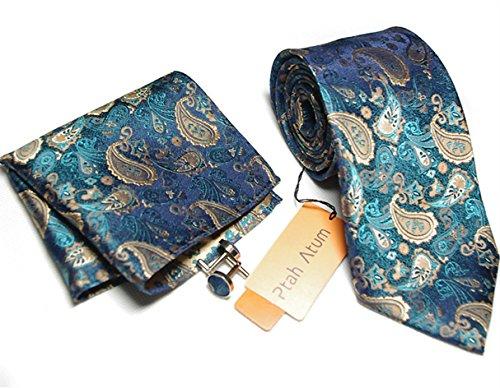HXCMAN 8cm bleu marine cravate paisley floral set 100% soie cravate boutons de manchette poche carré classique design fête de mariage luxe affaires