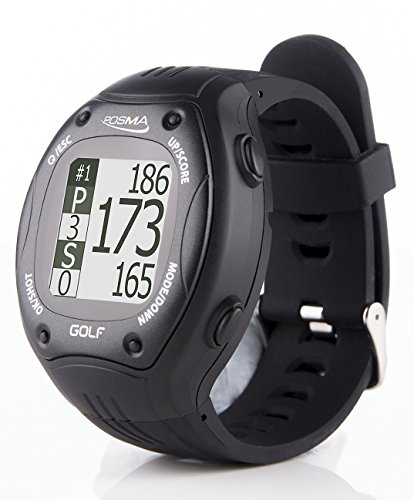 POSMA GT1 Golf Trainer GPS Golf Watch Range Finder, Preloaded Golf Courses, no Download no Subscription, Black, incl. US, Canada, Europe, Australia, New Zealand