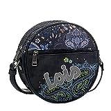 Lois - Bolso Circular con Bandolera Ajustable. Cierre con Cremallera. Llavero. Lona y Piel Sintética Polipiel 96184, Color Negro