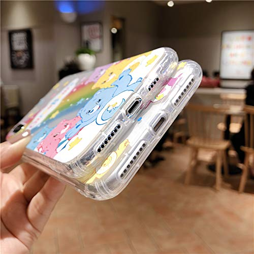 Cartoon Cute Rainbow Bear Phone Case for iPhone 11 Pro X XS Max Xr 8 7 6 s Plus INS Anime Cares Bears Clear Soft Cover Coque (2, iPhone 7 8 Plus)