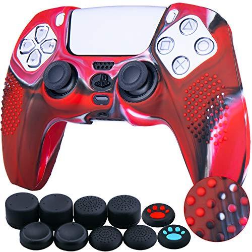 YoRHa Tachonado Silicona Caso Piel Fundas Protectores Cubierta para Sony PS5 Dualsense Mando x 1 (Rojo Camuflaje) con Pro los puños Pulgar Thumb gripsx 8