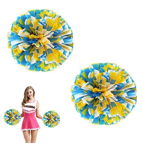 AUHOTA 2 Stück Kunststoff Cheerleading Pom Poms mit Taktstock Griff, Cheerleader Pompons Handblumen (Blau/Gelb/Weiß)
