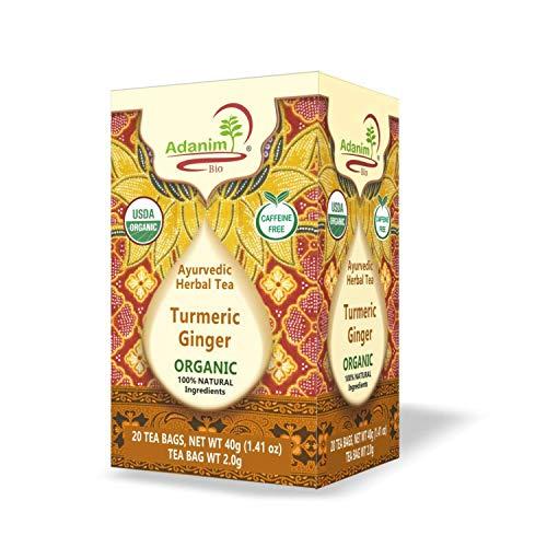 Adanim Bio Turmeric Ginger Herbal Tea (Pack of 4, 80 in total) Anti-Inflammatory and rich in Antioxidants, Kosher, Non-GMO and USDA Certified