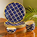 ExclusiveLane 'Moroccan Handpainted' Ceramic Plates for Dinner Ceramic Dinner Plates with Katoris (8 Pieces, Serving for 4, Dishwasher & Microwave Safe) -Dinner Sets Ceramic Bowls Set Dinnerware Sets