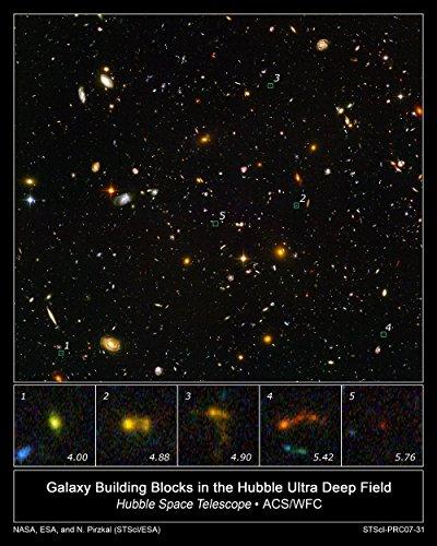 Hubble Telescope - Galaxy Building Blocks in Ultra Deep Field - Large - Semi Gloss Print