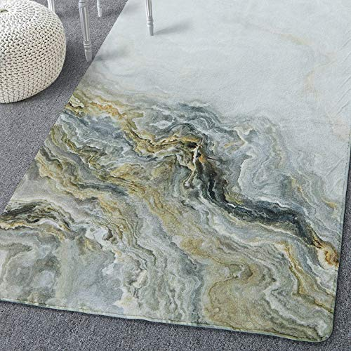 Lahome Marble Area Rug - 3' X 5' Faux Wool Non-Slip Area Rug Accent Distressed Throw Rugs Floor Carpet for Living Room Bedrooms Laundry Room Decor (3' x 5', Marble)