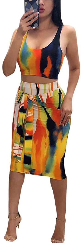 Remelon Womens Sexy Sleeveless Tie Dye Print Tank Crop Top Bodycon Tie Skirts Set 2 Piece Midi Dress Outfits