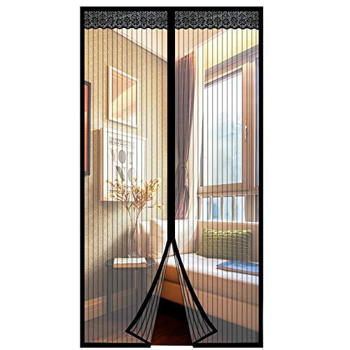 Mosquitera Magnética para Puertas,Emooqi Mosquitera Puerta/Cortina Mosquitera Magnética para Puertas, Puerta de Pantalla Magnética Cierre Magnético Automático, Sin Taladrar 80x200 cm -Negro