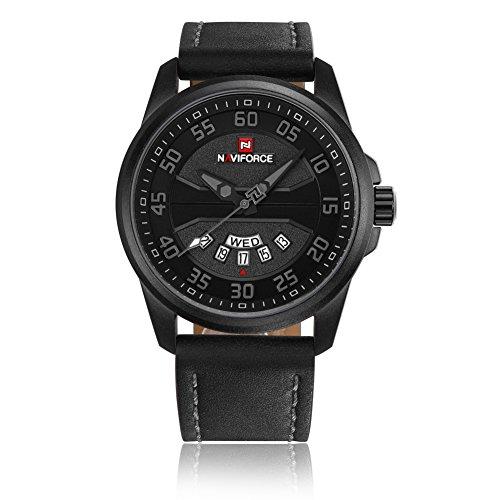 Original Genuine Leather Quartz Date Week Waterproof Sport Men Watches Military Wrist Watch