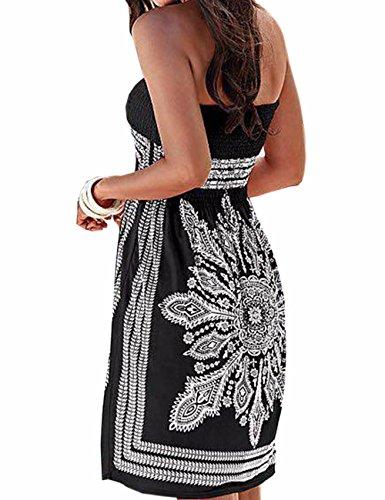 Vestido de verano para mujer, sin hombros, estampado floral, multicolor, estilo bohemio, informal, mini vestido de playa, Negro , XL