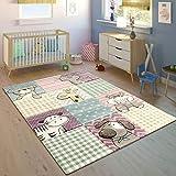 Paco Home Kinderteppich Bunt Pastellfarben 3-D Karo Muster Tier Design Weich Kurzflor