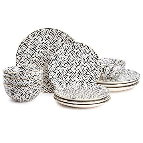 Thyme & Table Dinnerware Black & White Medallion Stoneware, 12 Piece Set (Polka Dot)